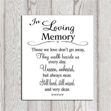 Wedding Memorial table In loving memory printable Memorial