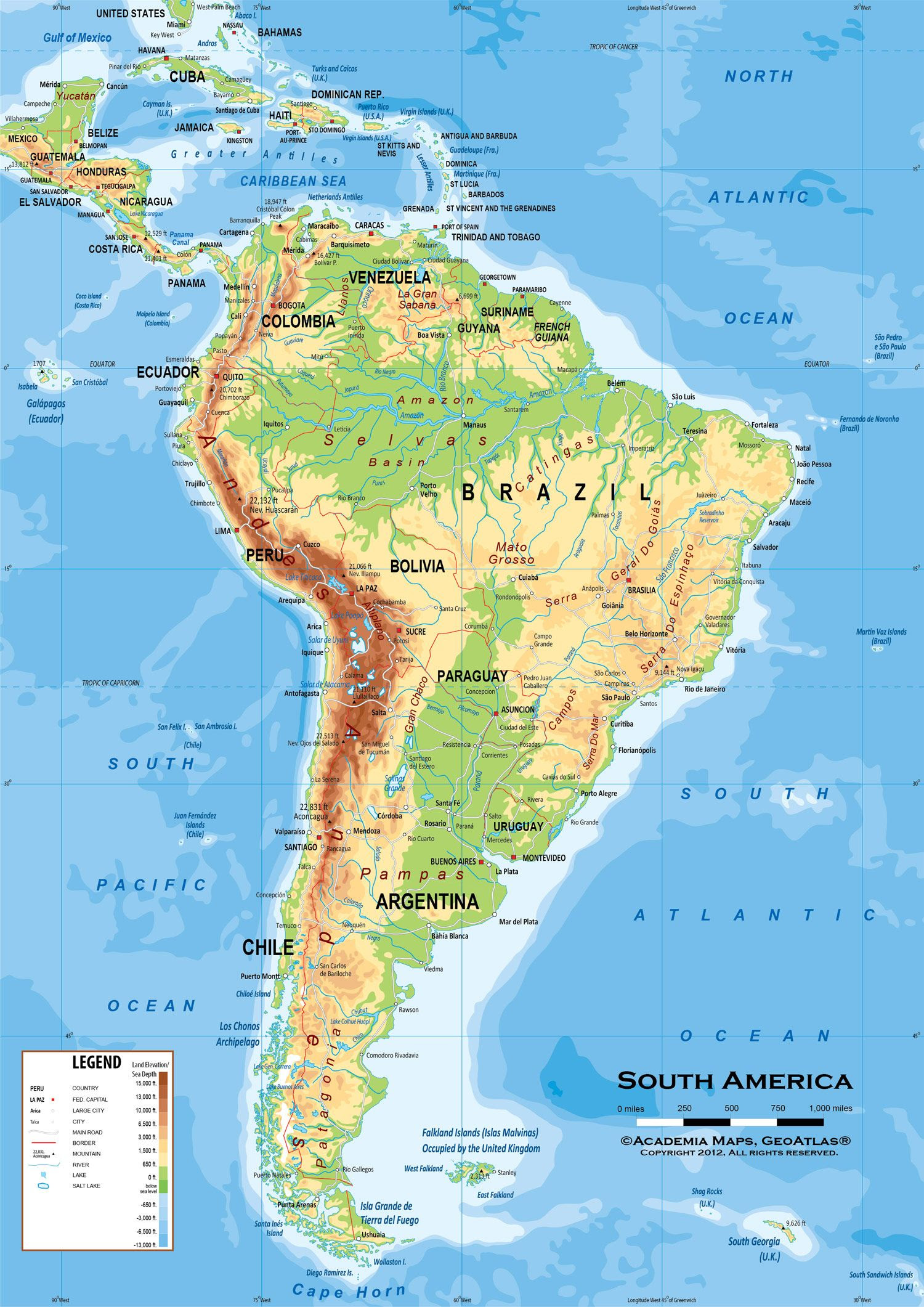 Map Of Latin America South America Physical And