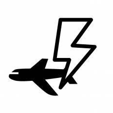 飛行機と雷シルエット イラストの無料ダウンロードサイトシルエットac