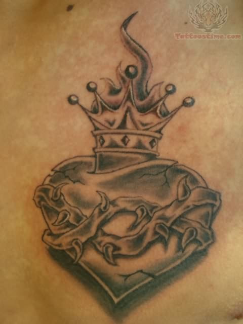 Sacred Heart Crown Tattoo