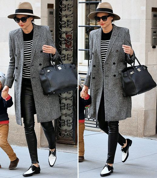 Le Fashion Blog Two Ways Miranda Kerr Stripes Leather NYC Tan Fedora Hat Sunglasses Red Lipstick Black White Striped Top Tee Leather Pants Black Hermes Bag Saint Laurent Two Tone Derby Flat Oxford Shoes 2014 2 photo Le-Fashion-Blog-Two-Ways-Miranda-Kerr-Stripes-Leather-NYC-Fedora-2014-2.jpg