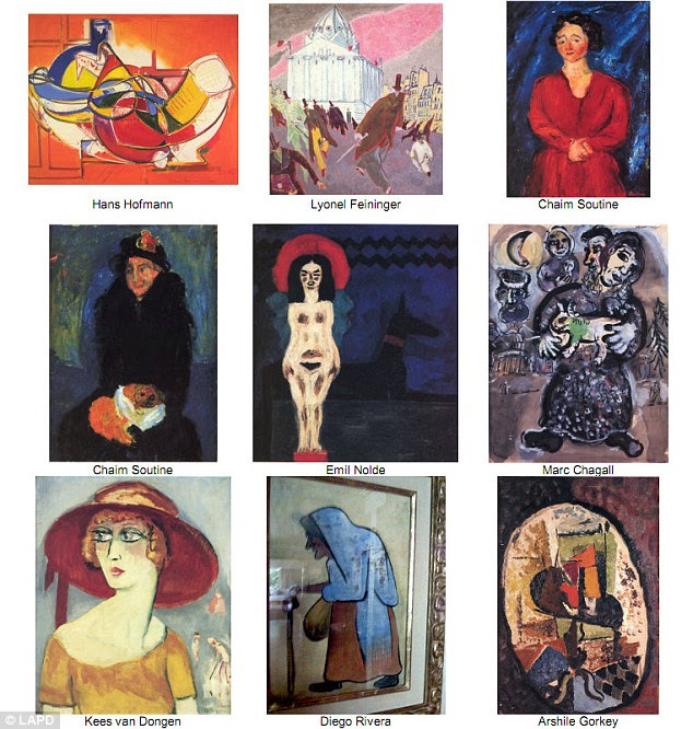 Recovered art: Federal agents and police in Los Angeles have recovered nine paintings worth millions of dollars that were stolen from the home of an elderly couple six years ago, including works by Marc Chagall and Diego Rivera