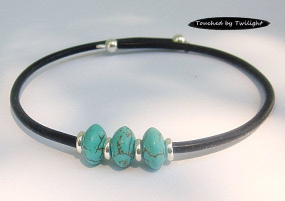 Memory Wire Cuff  Turquoise Magnesite  Rubber by TouchedByTwilight, $10.00