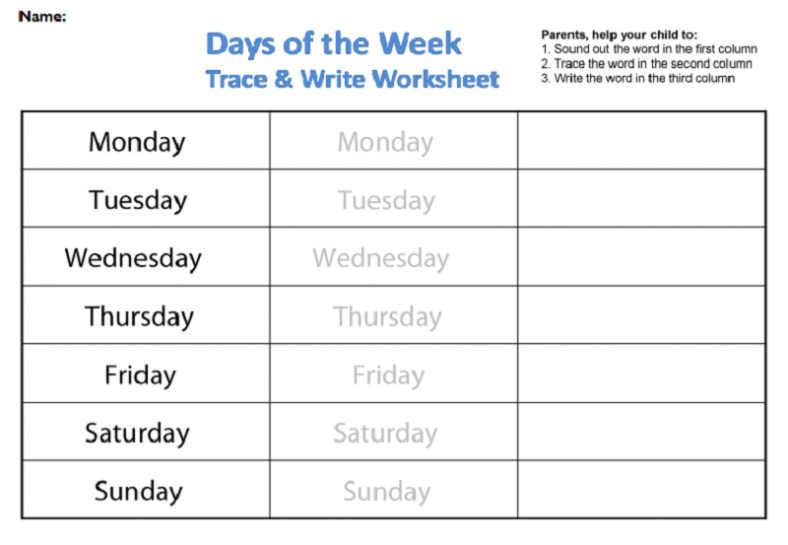 Days of the Week Worksheets Tracing and Writing 788x545