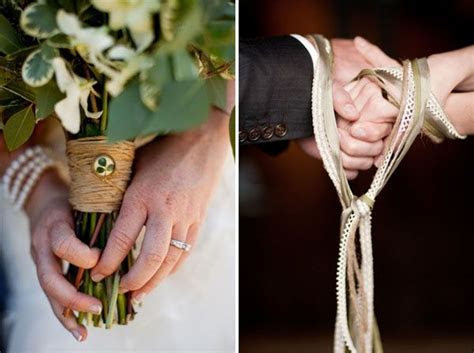 The binding of hands with ribbon to symbolize together as