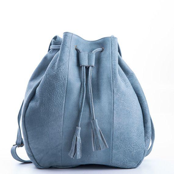 תיק עור עבודת יד- צבע ג'ינס אפור | Meckela | מרמלדה מרקט