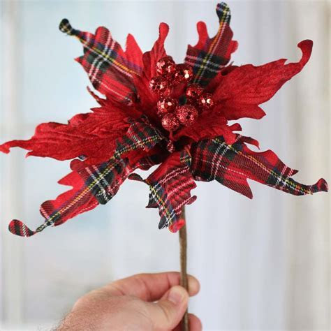 Christmas Plaid Artificial Poinsettia Pick   Christmas