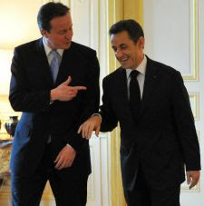 David Cameron and Nicolas Sarkozy, in spite of appearances, had an uneasy meeting. Photo by Andrew Parsons.