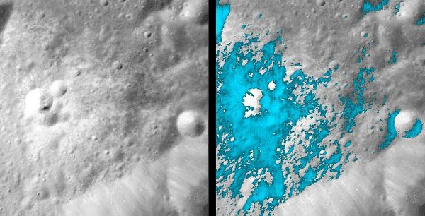 Two photos showing the lunar surface, and where water is located beneath it.