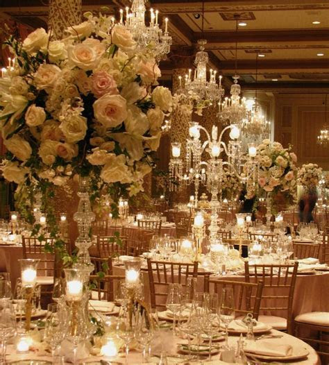 Romantic Floral & Crystal Candlabras in Gold Coast Room of