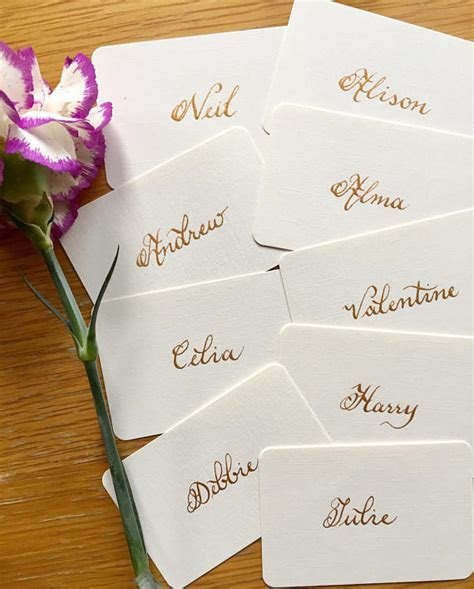 Wedding Flat Place Cards/Name Cards Handwritten in Calligraphy