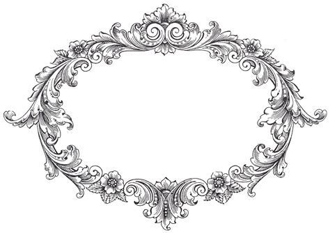 Vintage Clip Art   Fancy Oval Frame   The Graphics Fairy