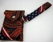 Handmade Necktie Wristlet Wallet Red and Navy