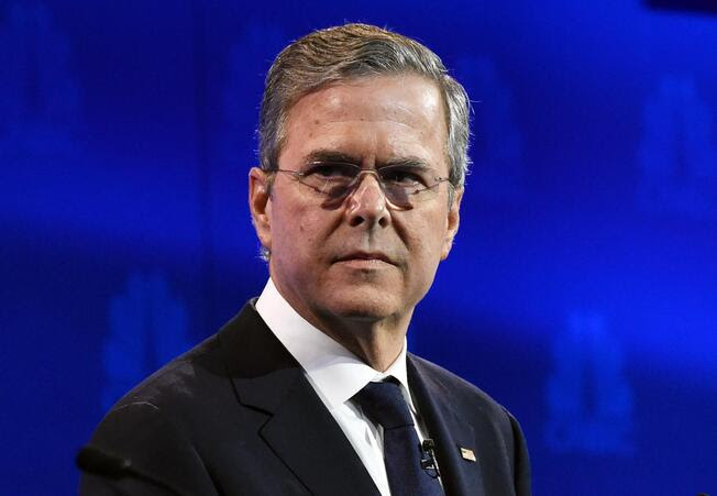 Jeb Bush looks on during in the CNBC Republican Presidential Debate, October 28, 2015 at the Coors Event Center at the University of Colorado in Boulder, Colorado.
