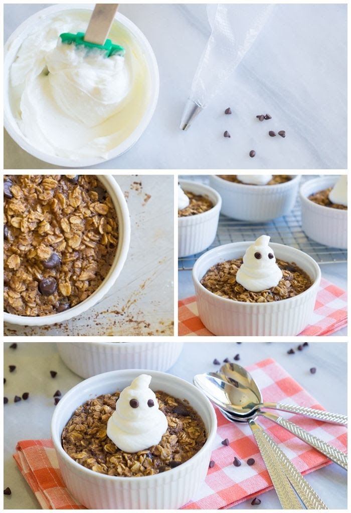 baked pumpkin chocolate chip oatmeal, topped with greek yogurt ghosts