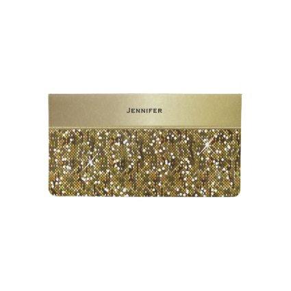 Elegant Gold Confetti Glittery Print Checkbook Cover
