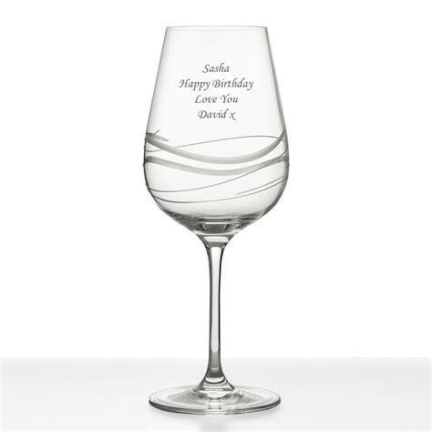 Personalised Swirl Cut Wine Glass