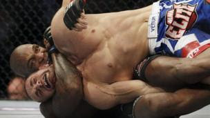 A UFC Mixed Martial Arts middleweight bout in action