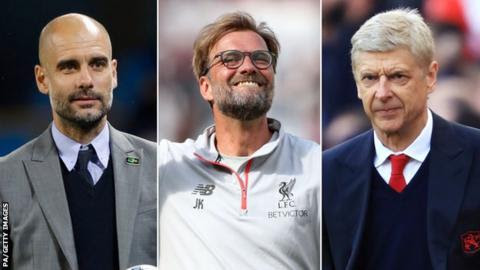 Pep Guardiola, Jurgen Klopp and Arsene Wenger