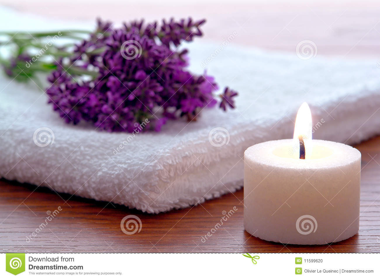 Aromatherapy Candle And Lavender Flowers In A Spa Stock Photo ...