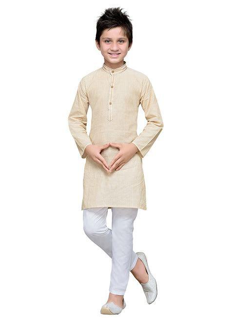 Buy Cream Cotton Striped Boys Kurta Pyjama, Diwali , Party