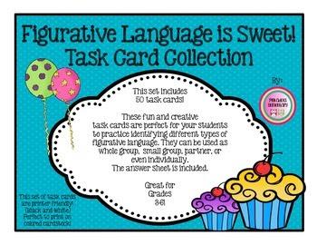 50 Figurative Laguage Task/Flash Cards, Partner, Small Gro