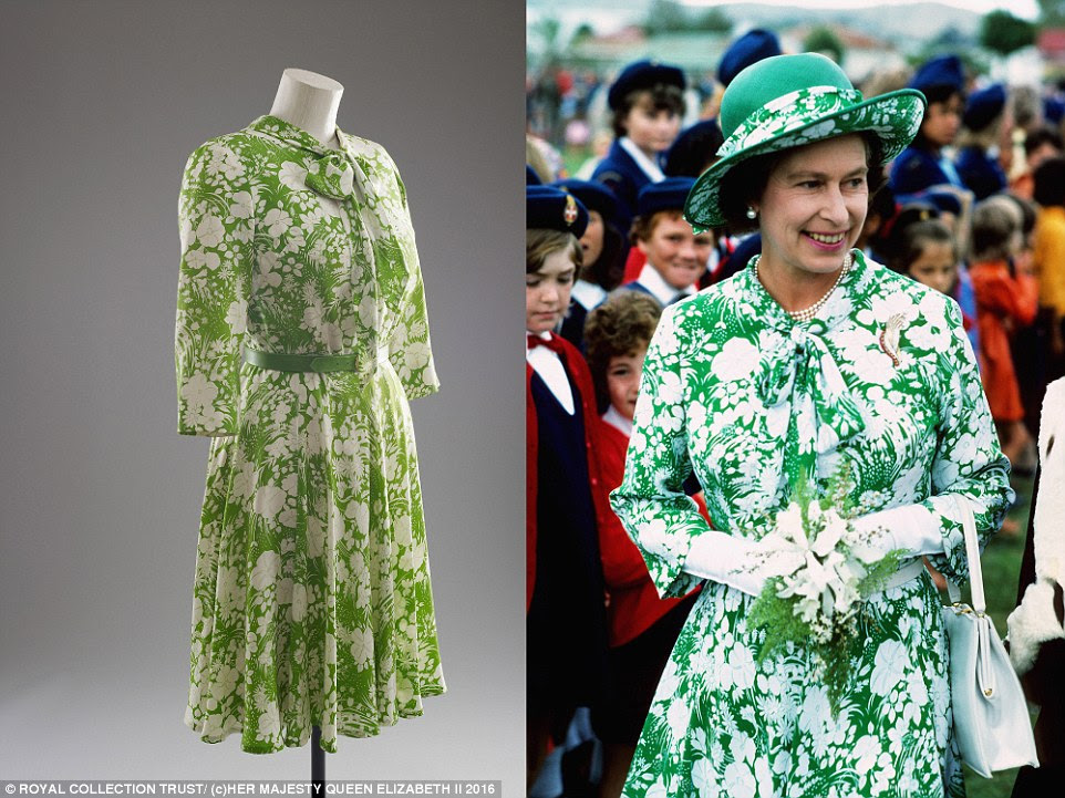 Sir Norman Hartnell designed this green and white floral silk day dress, which was worn by Her Majesty The Queen during the Silver Jubilee tour in 1977, marking 25 years of her reign