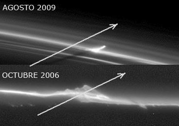 Trayectorias de impactos cometarios en los anillos de Saturno