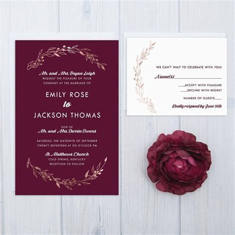 Burgundy Wedding Invitations   Shilohmidwifery.com