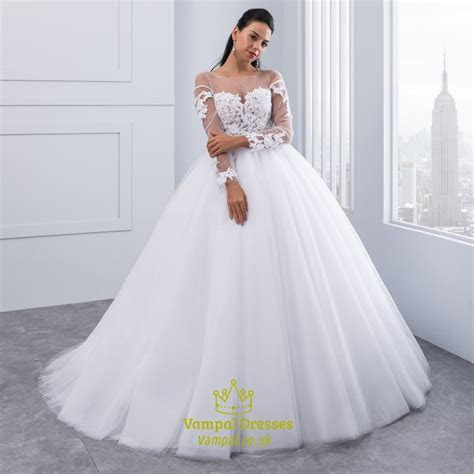 Open Back Long Sleeve Wedding Dress With Sheer Illusion