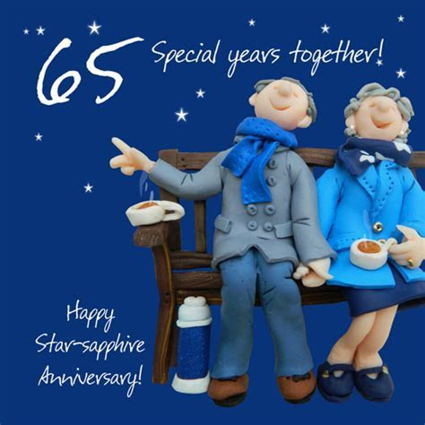 Happy 65th Star Sapphire Anniversary Greeting Card One