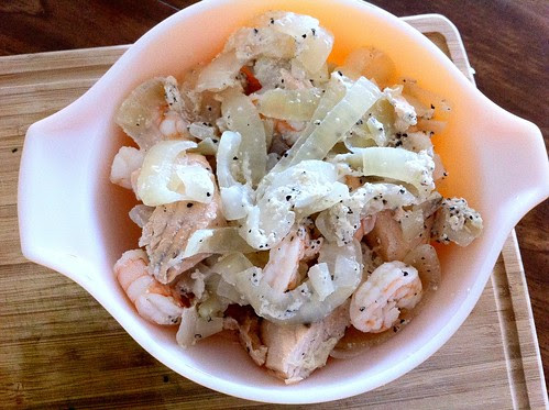 Fish, Onions and Shrimp