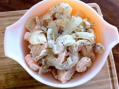 Fish, Onions and Shrimp