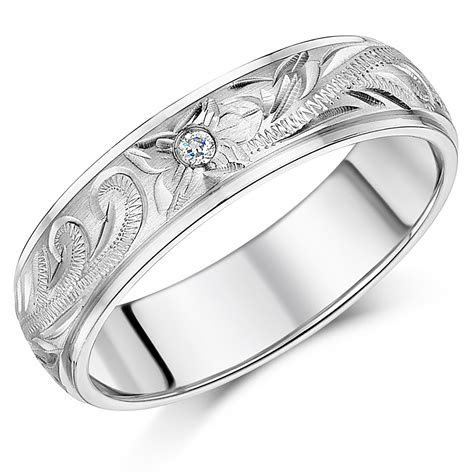 White Gold Patterned Rings and Wedding Bands for Men and Women