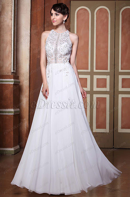 A-Line Halter Beaded Top Sexy Open Back Wedding Gown