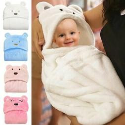ARAUS Swaddle Blanket Newborn Baby Flannel Animal Towel with Hood for 0-3T