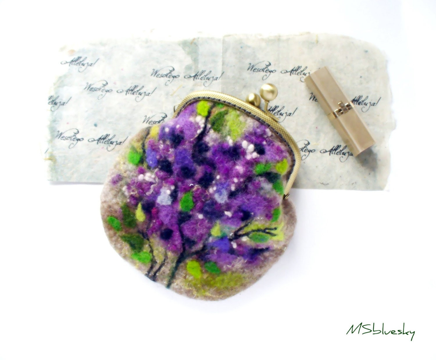 Wet Felted FLOWER Lilac Bushes coin purse Ready to Ship with bag frame metal closure Handmade  gift for her under 50 USD - MSbluesky