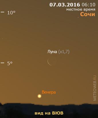 Убывающая Луна и Венера на утреннем небе Сочи 7 марта 2016 г.