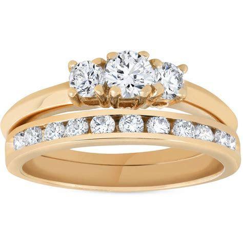 14k Yellow Gold 1ct Diamond Engagement Wedding Ring Set