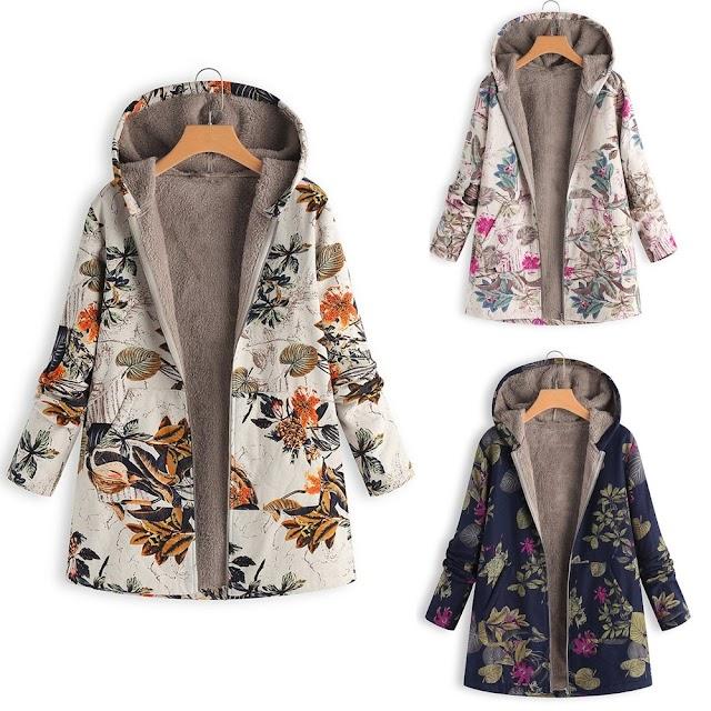 Kopen Goedkoop Jassen Vrouwen 2018 Winter Warm Uitloper Bloemenprint Hooded Pocket Vintage Oversize Plus Size Speciale Ontwerp Printlaag @ 30 Online