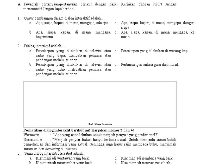 Contoh Soal Bahasa Indonesia Kelas 9