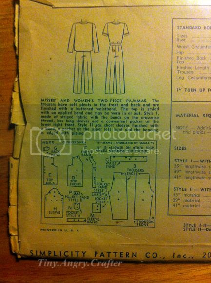 vintage pajama sew along pattern back