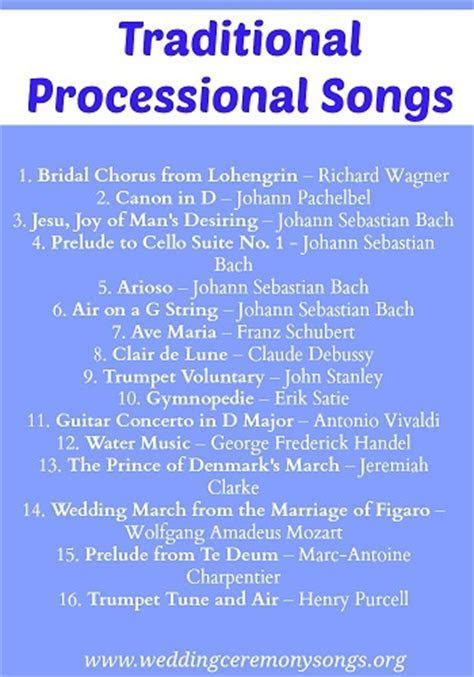Processional Songs   Wedding Ceremony Songs