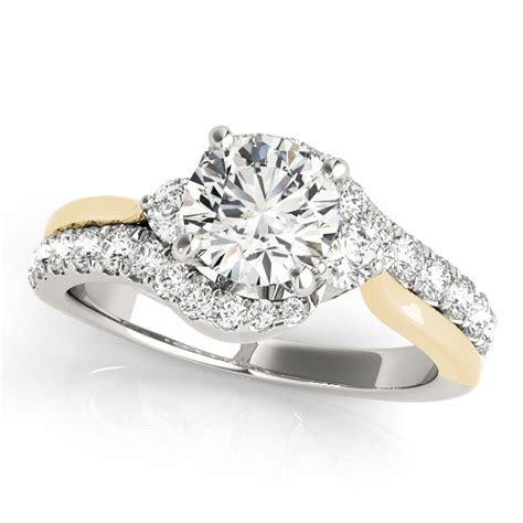 Accent Stone Bypass Engagement Ring with Curved Split Shank
