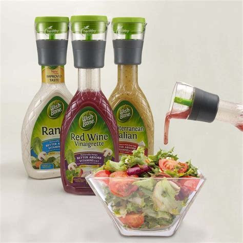 Pour one serving of salad dressing every time! Fits most