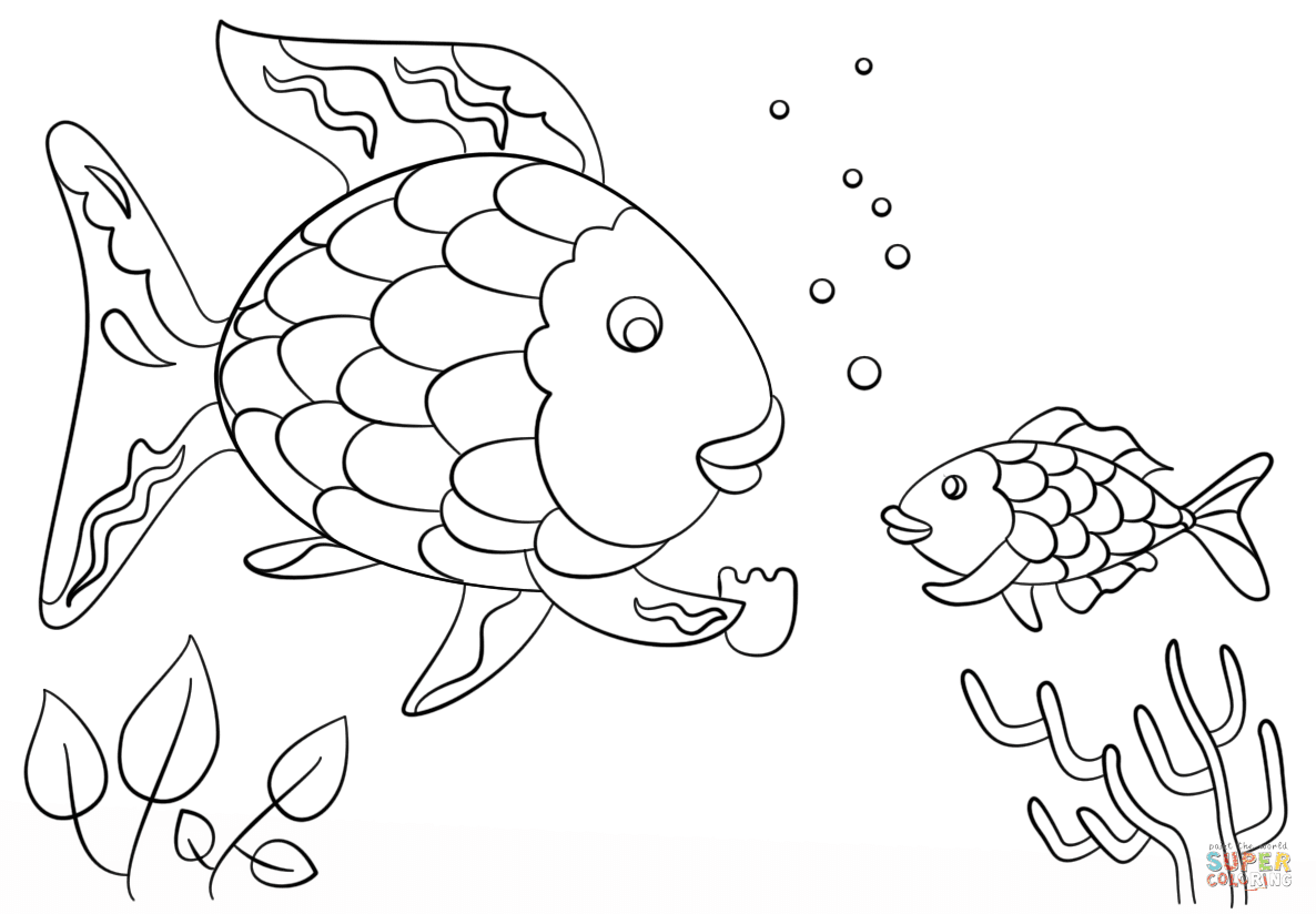 rainbow fish gives a precious scales to small fish coloring page