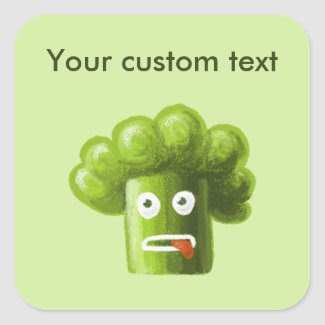 Funny Cartoon Broccoli Square Sticker