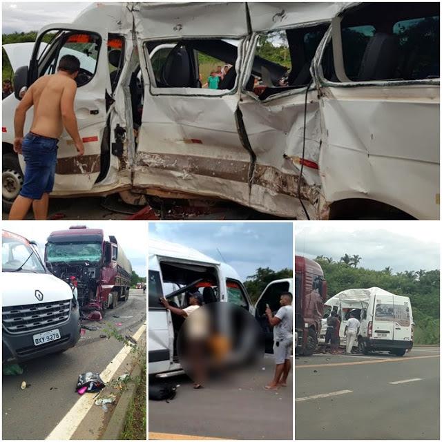 PRF identifica seis das sete pessoas mortas no acidente entre Van e carreta em Caxias