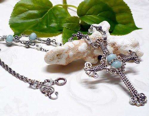 Amazonite Woven Wire Cross/Necklace