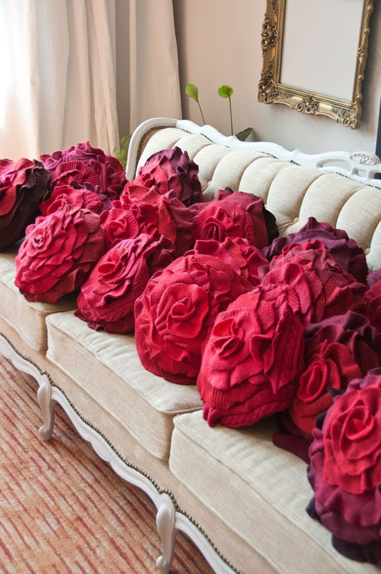 Red Ombre Ruffle Rose Pillow - Medium